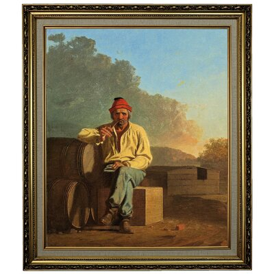 'Mississippi Boatman 1850' Framed Oil Painting Print on Canvas Format: Yellow Framed, Size: 28.15