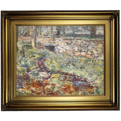 'Stone Bridge Old Lyme Connecticut 1890' Framed Oil Painting Print on Canvas Format: Light Gold Framed, Size: 22