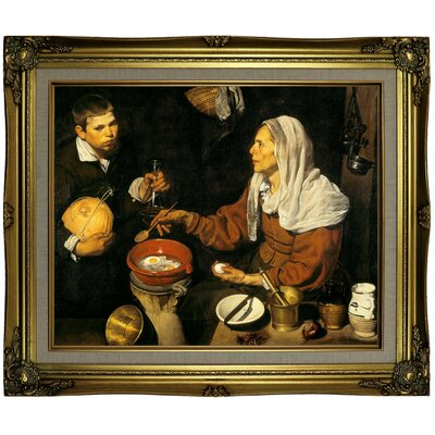 'An old woman frying eggs 1618' Framed Print on Canvas Format: Gold Frame, Size: 21.25