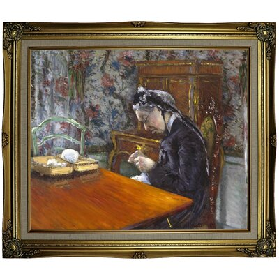 'Mademoiselle Boissiere Knitting 1877' Framed Oil Painting Print on Canvas Format: Gray/Gold Framed, Size: 25.25