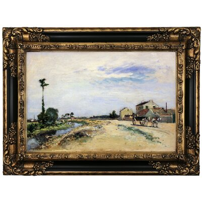 'Little channel along the Seine at Meudon 1865' Framed Oil Painting Print on Canvas Format: Black/Gold Framed, Size: 17.25