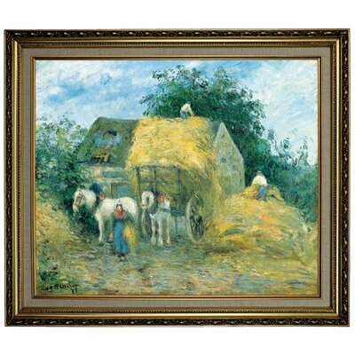 'The Hay Cart; Montfoucault 1879' by Camille Pissarro Framed Oil Painting Print on Canvas Format: Yellow Framed, Size: 24.15