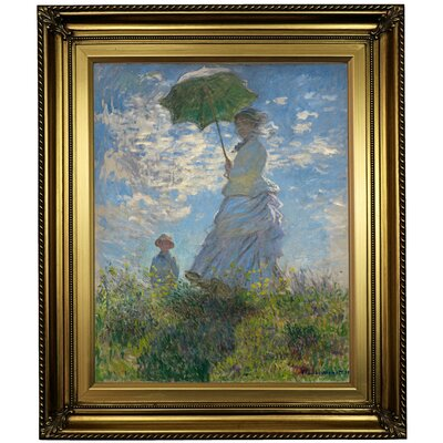'On the Rock Cliff; Madame Monet and Her Son Jean' Framed Oil Painting Print on Canvas Format: Light Gold Framed, Size: 26