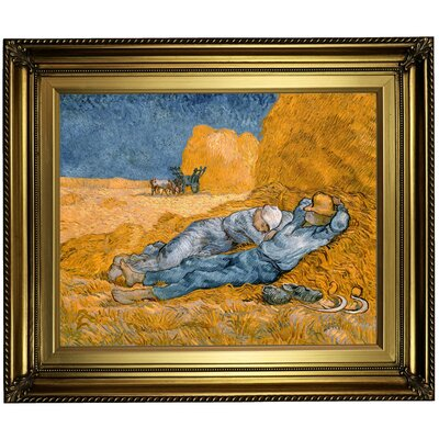 'Noon - Rest from Work (after Millet)' by Vincent van Gogh Framed Oil Painting Print on Canvas Format: Light Gold Framed, Size: 22
