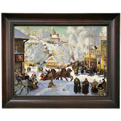 'Maslenitsa 1919 Depicts the Eastern Orthodox holiday Maslenitsa' Framed Oil Painting Print on Canvas Format: Chocolate Brown Framed, Size: 15.5