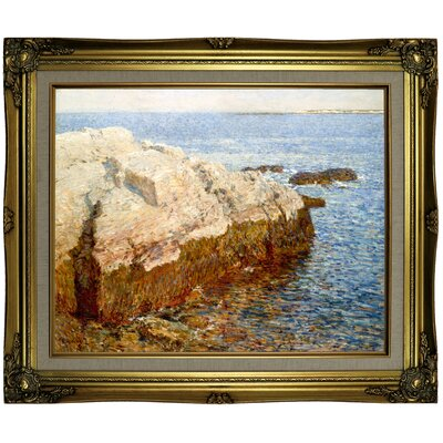 'Cliff Rock Appledore 1903' Framed Oil Painting Print on Canvas Format: Light Brown Framed, Size: 21.25'' H x 25.25'' W x 1.5'' D