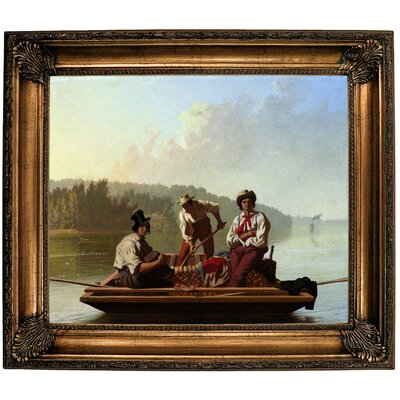 'Boatmen on the Missouri 1846' Framed Oil Painting Print on Canvas Format: Dark Gold Framed, Size: 26.25'' H x 30.25'' W x 2.75'' D