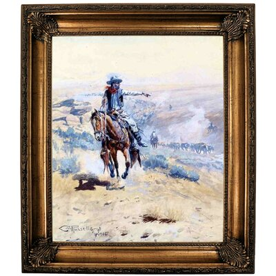 'Pointing Out the Trail' Framed Oil Painting Print on Canvas Format: Bronze Framed, Size: 30.25