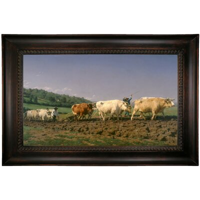 'Ploughing in Nevers 1849' Framed Oil Painting Print on Canvas Format: Dark Black Framed, Size: 26
