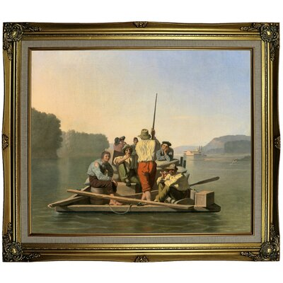 'Lighter Relieving a Steamboat Aground 1847' Framed Oil Painting Print on Canvas Format: Gray/Gold Framed, Size: 25.25