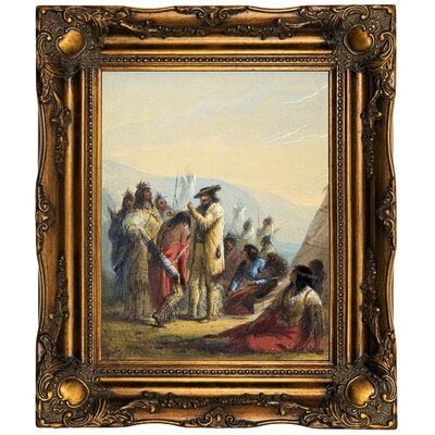 'Presents to Indians 1858' Framed Oil Painting Print on Canvas Format: Dark Gold Framed, Size: 19.5