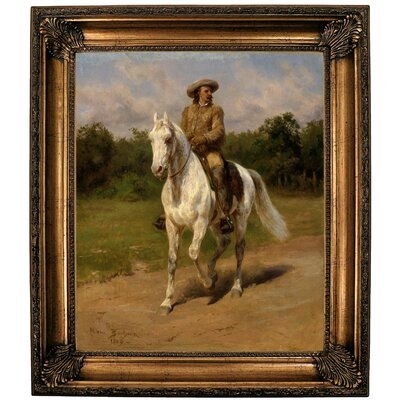 'Col William F.Cody Buffalo Bill 1889' Framed Oil Painting Print on Canvas Format: Golden Brown Framed, Size: 25.25'' H x 21.25'' W x 1.5'' D