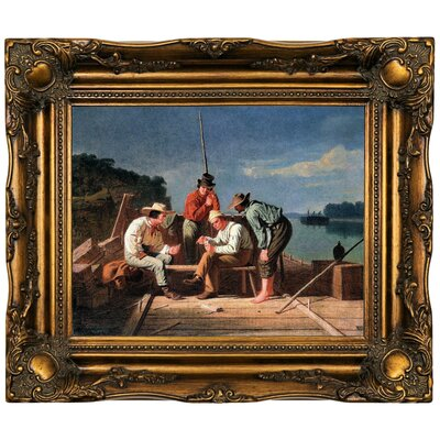 'In a Quandary or Mississippi Raftsmen at Cards 1851' Framed Oil Painting Print on Canvas Format: Dark Gold Framed, Size: 16.5