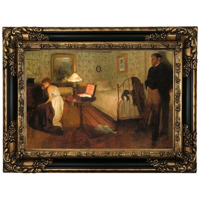 'Interior 1868' by Edgar Degas Framed Oil Painting Print on Canvas Format: Black Framed, Size: 17.25