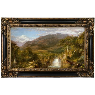 'The Heart of the Andes 1859' Framed Oil Painting Print on Canvas Format: Black/Gold Framed, Size: 17.25