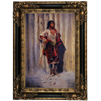 'Indian Maid at Stockade' Framed Oil Painting Print on Canvas Format: Black Framed, Size: 23.25