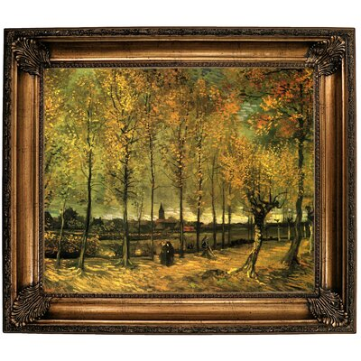 'Lane with Poplars' by Vincent van Gogh Framed Oil Painting Print on Canvas Format: Brown Framed, Size: 26.25
