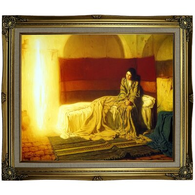 'The Annunciation' Framed Oil Painting Print on Canvas Format: Black Gold Framed, Size: 25.25