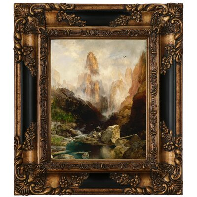 'Mist in Kanab Canyon, Utah' Framed Oil Painting Print on Canvas Format: Antique Gold Framed, Size: 15.25