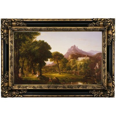'Dream of Arcadia 1838' Framed Oil Painting Print on Canvas Format: Black Gold Framed, Size: 17.25