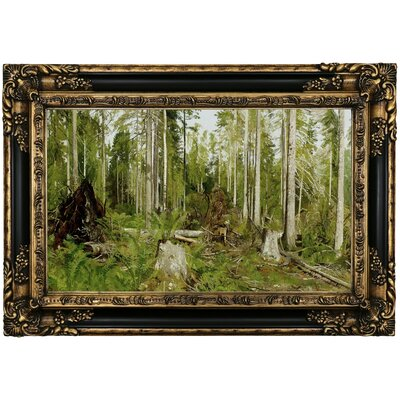'Pine forest (a study) 1890s' Framed Oil Painting Print on Canvas Format: Black Gold Framed, Size: 17.25