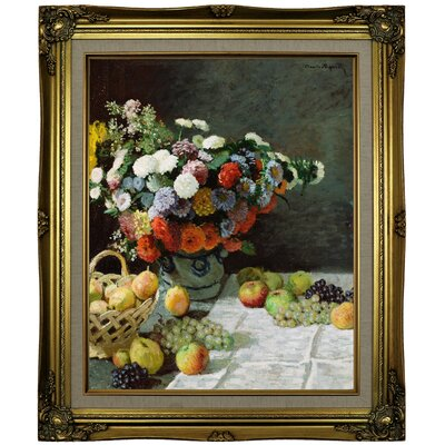 'Still Life with Flowers and Fruit 1869' by Claude Monet Framed Oil Painting Print on Canvas Format: Brown/Gold Framed, Size: 25.25