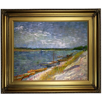 'View of a River with Rowing Boats' by Vincent van Gogh Framed Oil Painting Print on Cavas Format: Light Gold Framed, Size: 22