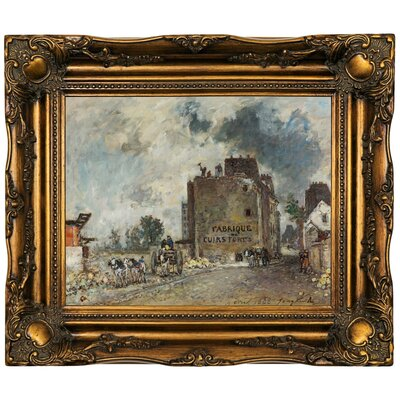 'Demolition work' Framed Oil Painting Print on Canvas Format: Dark Brown Framed, Size: 16.5'' H x 19.5'' W x 2'' D