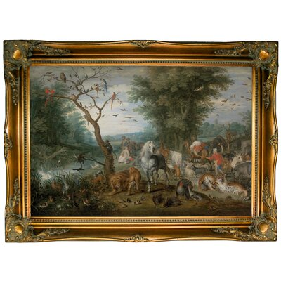 'Paradise Landscape with Animals 1613' Framed Oil Painting Print on Canvas Format: Bronze Framed, Size: 24.5