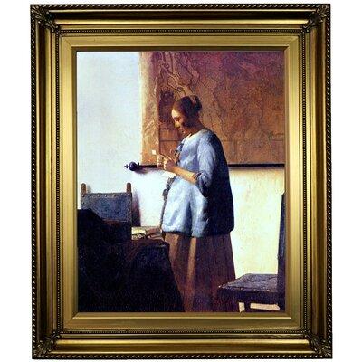'Women in Blue Reading a Letter' by Johannes Vermeer Framed Oil Painting Print on Canvas Format: Light Gold Framed, Size: 26