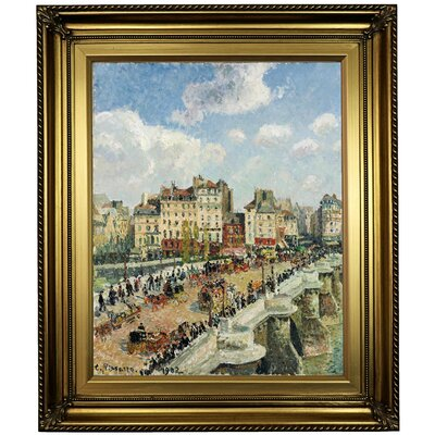 'The Pont-Neuf 1902' by Camille Pissarro Framed Oil Painting Print on Canvas in Gold Format: Light Gold Framed, Size: 26