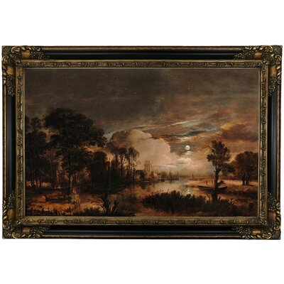 'Moonlit Landscape with a View of the New Amstel River and Castle Kostverloren 1647' Framed Oil Painting Print on Canvas Format: Black Framed, Size: 24.25