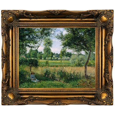 'Morning Sunlight Effect; Eragny 1899' by Camille Pissarro Framed Oil Painting Print on Canvas Format: Dark Gold Framed, Size: 16.5