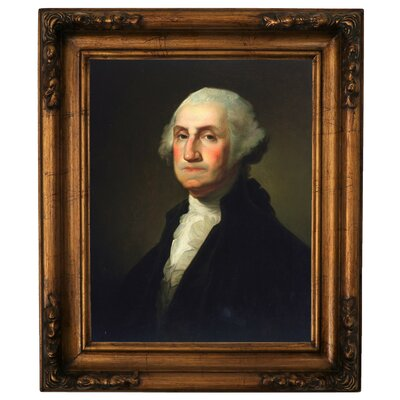 'George Washington 1854' Framed Oil Painting Print on Canvas Format: Antique Gold Framed, Size: 19.5