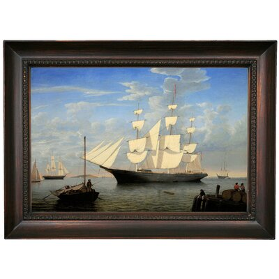 'The Ship Starlight' Framed Oil Painting Print on Canvas in Gold Format: Dark Brown Framed, Size: 15.5