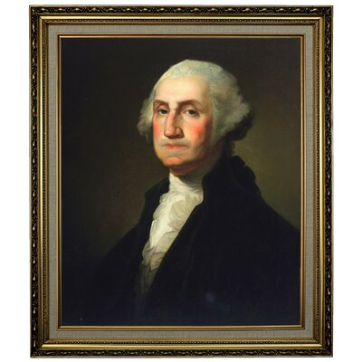 'George Washington 1854' Framed Oil Painting Print on Canvas Format: Yellow Framed, Size: 28.15