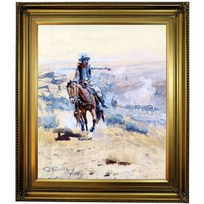 'Pointing Out the Trail' Framed Oil Painting Print on Canvas Format: Gold Framed, Size: 30
