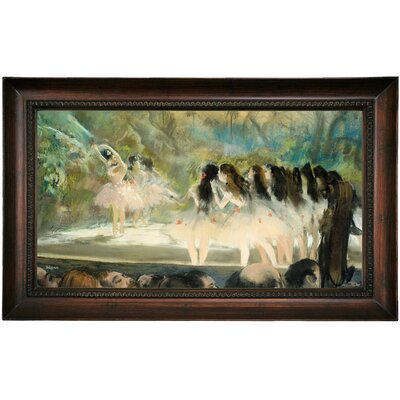 'Ballet at the Paris Opera 1877' by Edgar Degas Framed Print on Canvas Format: Brown Frame, Size: 15.5
