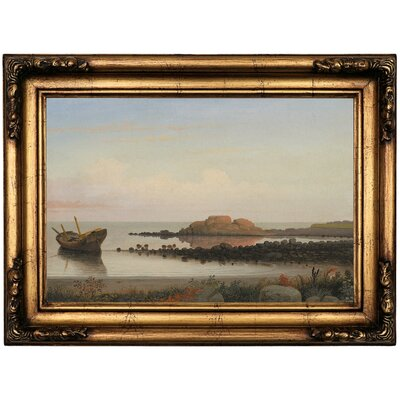 'Braces Rock, Eastern Point 1864' Framed Oil Painting Print on Canvas Format: Copper Framed, Size: 16.5'' H x 22.5'' W x 1.75'' D