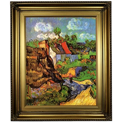 'Houses' Framed Oil Painting Print on Canvas Format: Light Gold Framed, Size: 26