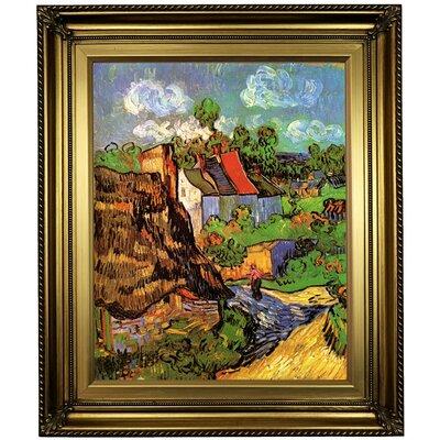 'Houses' Framed Oil Painting Print on Canvas Format: Light Gold Framed, Size: 26