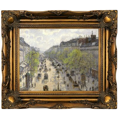 'Boulevard Montmartre, Spring 1897' by Camille Pissarro Framed Oil Painting Print on Canvas Format: Dark Gold Framed, Size: 16.5'' H x 19.5'' W x 2'' D