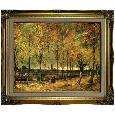 'Lane with Poplars' by Vincent van Gogh Framed Oil Painting Print on Canvas Format: Antique Gold Framed, Size: 21.25
