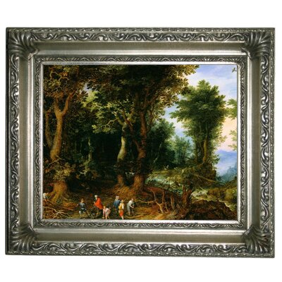 'Wooded Landscape with Abraham and Isaac 1599' Framed Oil Painting Print on Canvas Format: Silver Framed, Size: 11