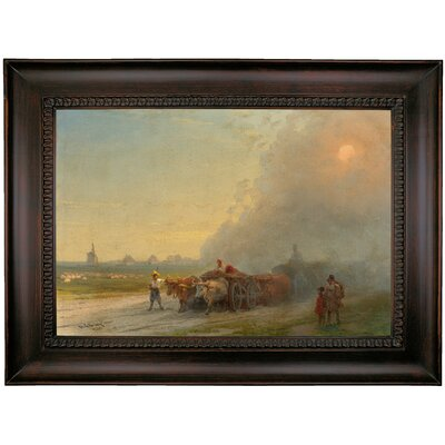 'Ox-carts in the Ukrainian steppe 1888' Framed Oil Painting Print on Canvas Format: Charcoal Framed, Size: 26