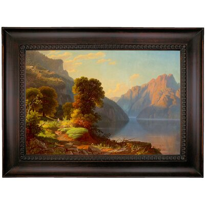 'A View of a Lake in the Mountains' Framed Print on Canvas Format: Brown Frame, Size: 26