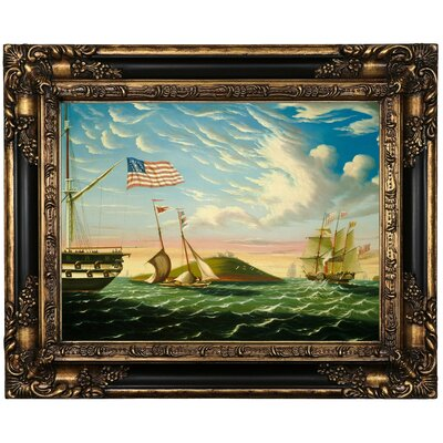 'Boston Harbor' Framed Oil Painting Print on Canvas Format: Black Framed, Size: 15.5'' H x 19.5'' W x 1.5'' D