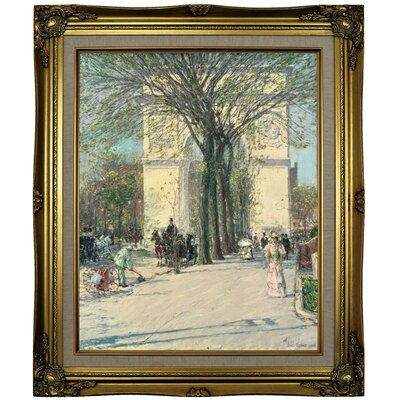 'Washington Arch, Spring 1890' Framed Oil Painting Print on Canvas Format: Black/Gold Framed, Size: 19.5'' H x 16.5'' W x 2'' D