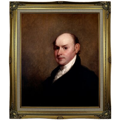 'John Quincy Adams 1818' Framed Oil Painting Print on Canvas Format: Gray/Gold Framed, Size: 29.25