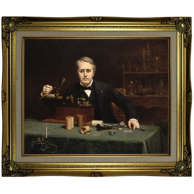 'Thomas Alva Edison 1890' Framed Oil Painting Print on Canvas Format: Brown/Gold Framed, Size: 21.25